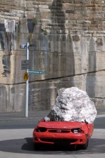 Escultura no bairro de The Rocks, em Sydney